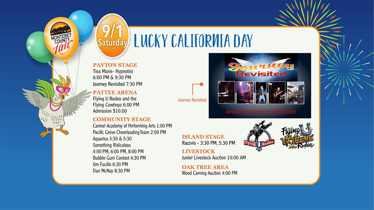 2018 Monterey County Fair Daily Schedule