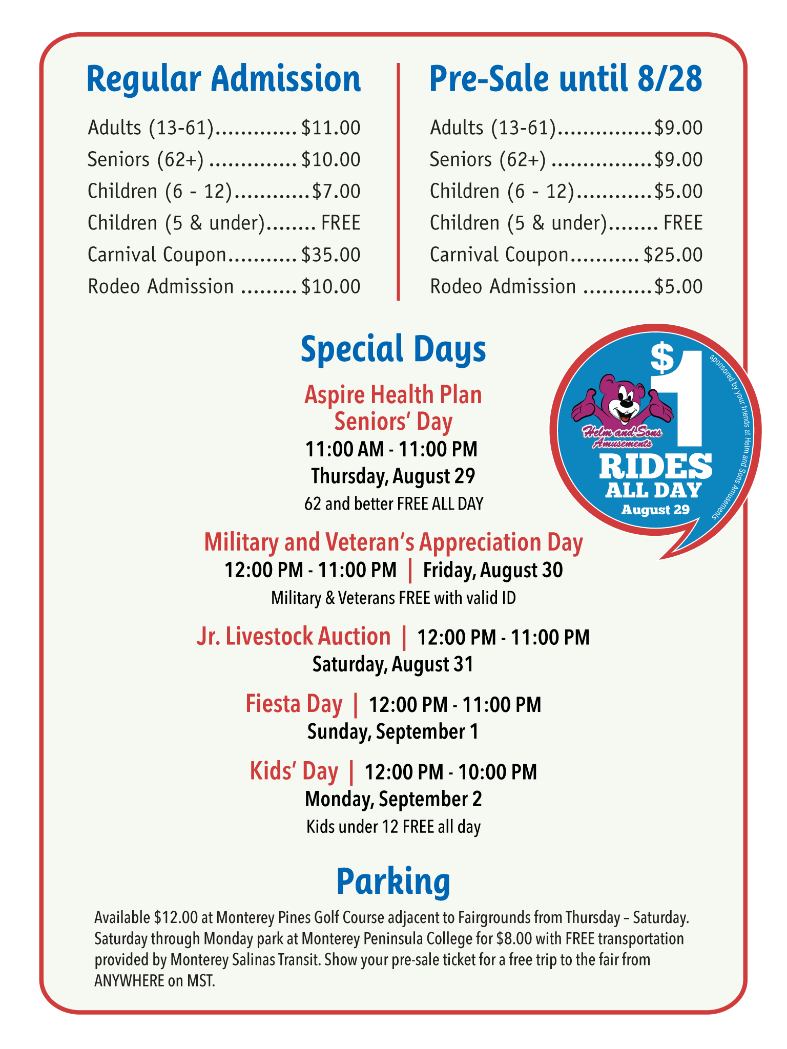 Monterey County Fair Times & Pricing