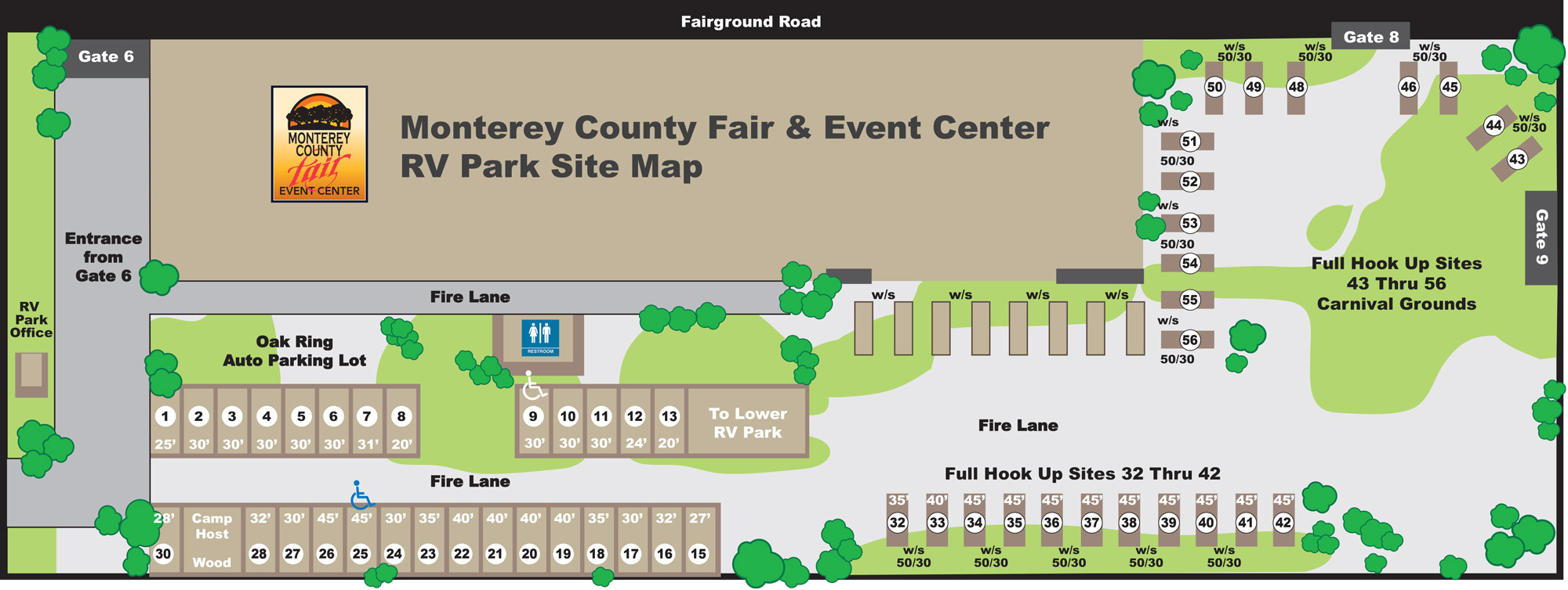 Monterey Fair & Event Center RV Parking Map