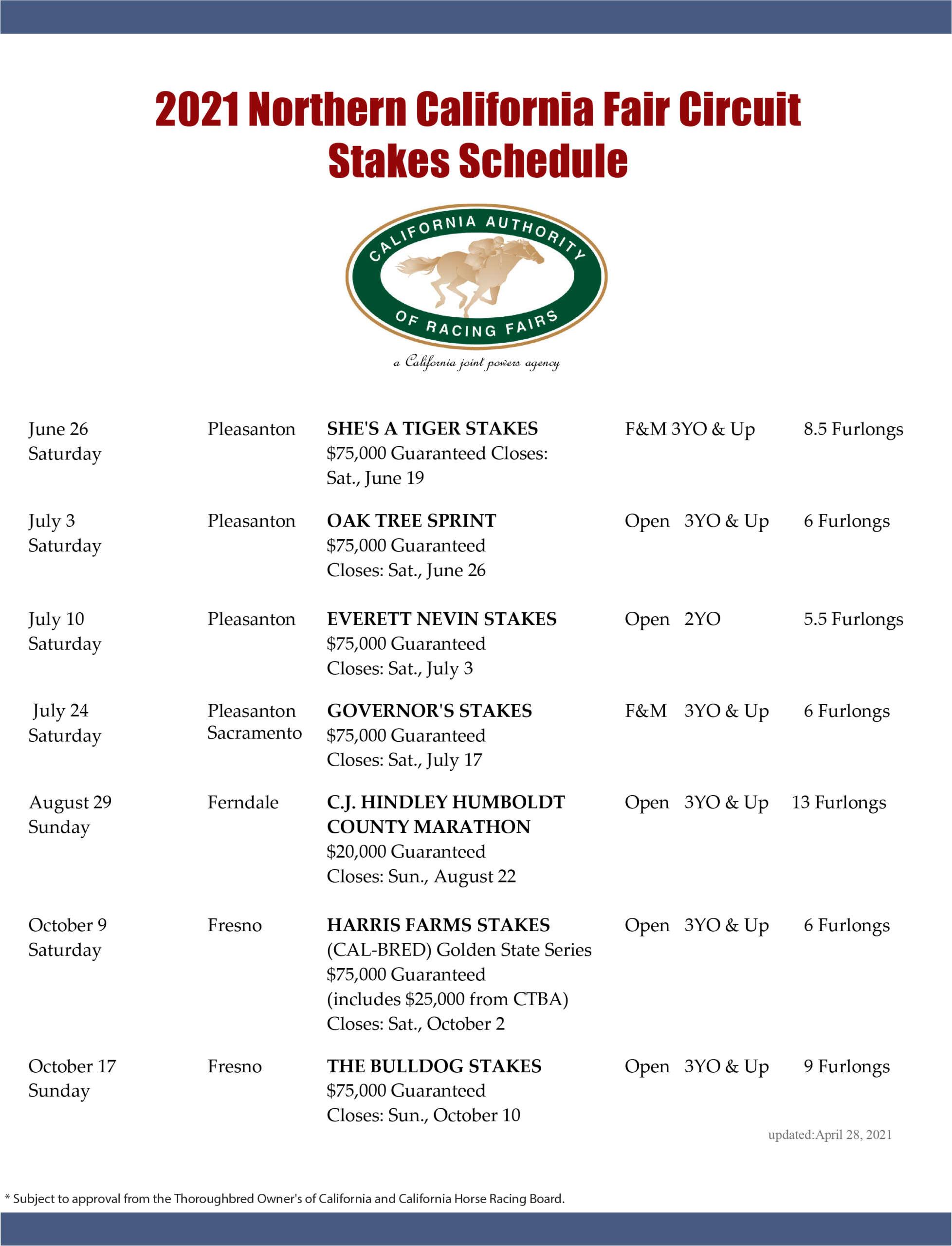Fair racing schedule